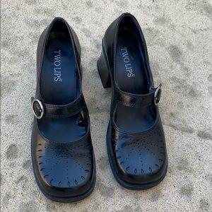 Two Lips Melina Black Mary Jane Heels Size 7